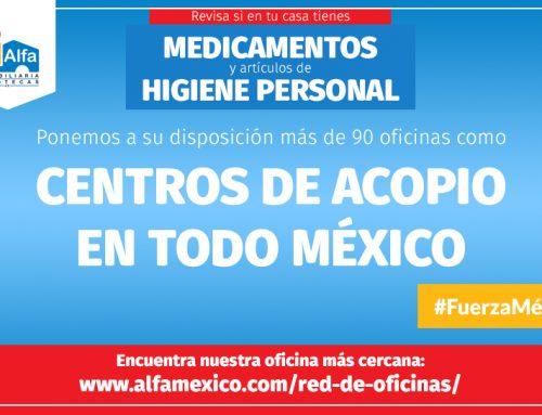 Alfa Inmobiliaria activa sus oficinas de todo México como Centros de Acopio en apoyo a los afectados por el terremoto.
